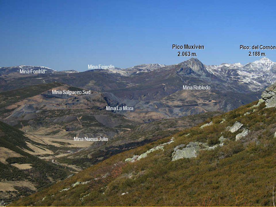 Pico: del Cornón 2.188 m.2.188 m. Mina La Mora Mina Nueva Julia Mina Robledo Pico Muxivén 2.063 m.