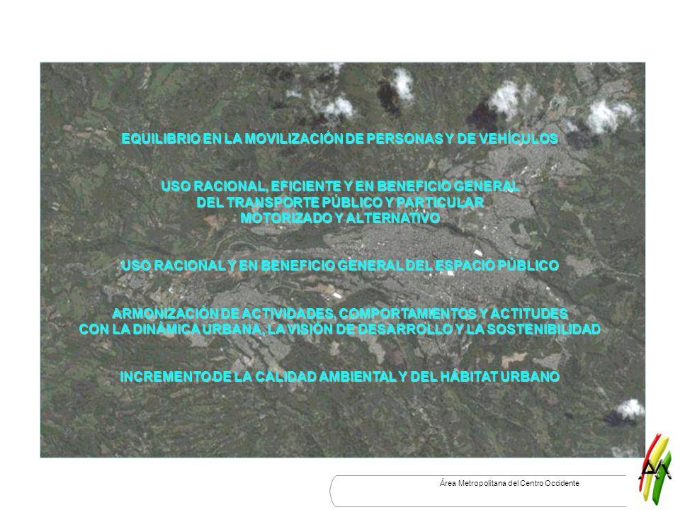 Área Metropolitana del Centro Occidente EQUILIBRIO EN LA MOVILIZACIÓN DE PERSONAS Y DE VEHÍCULOS USO RACIONAL, EFICIENTE Y EN BENEFICIO GENERAL DEL TR