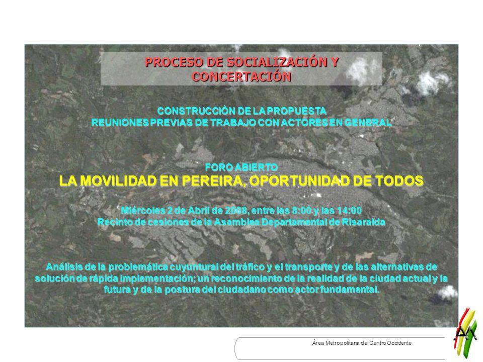 Área Metropolitana del Centro Occidente CONSTRUCCIÓN DE LA PROPUESTA REUNIONES PREVIAS DE TRABAJO CON ACTORES EN GENERAL PROCESO DE SOCIALIZACIÓN Y CO