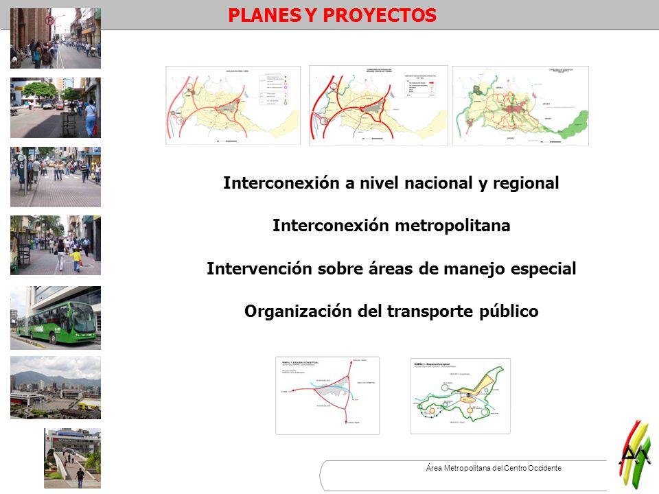 Área Metropolitana del Centro Occidente Interconexión a nivel nacional y regional Interconexión metropolitana Intervención sobre áreas de manejo espec