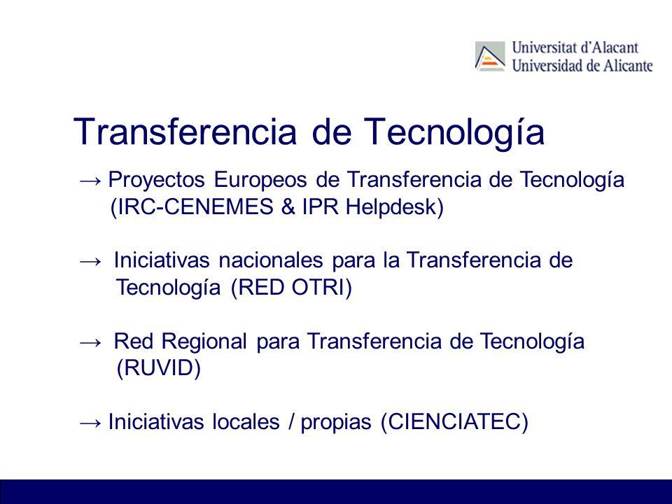 Transferencia de Tecnología Proyectos Europeos de Transferencia de Tecnología (IRC-CENEMES & IPR Helpdesk) Iniciativas nacionales para la Transferenci