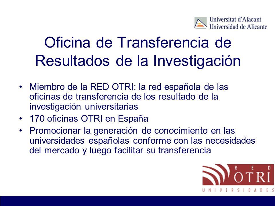 Oficina de Transferencia de Resultados de la Investigación Miembro de la RED OTRI: la red española de las oficinas de transferencia de los resultado d