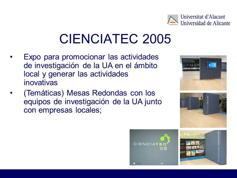 CIENCIATEC 2005 Expo para promocionar las actividades de investigación de la UA en el ámbito local y generar las actividades inovativas (Temáticas) Me