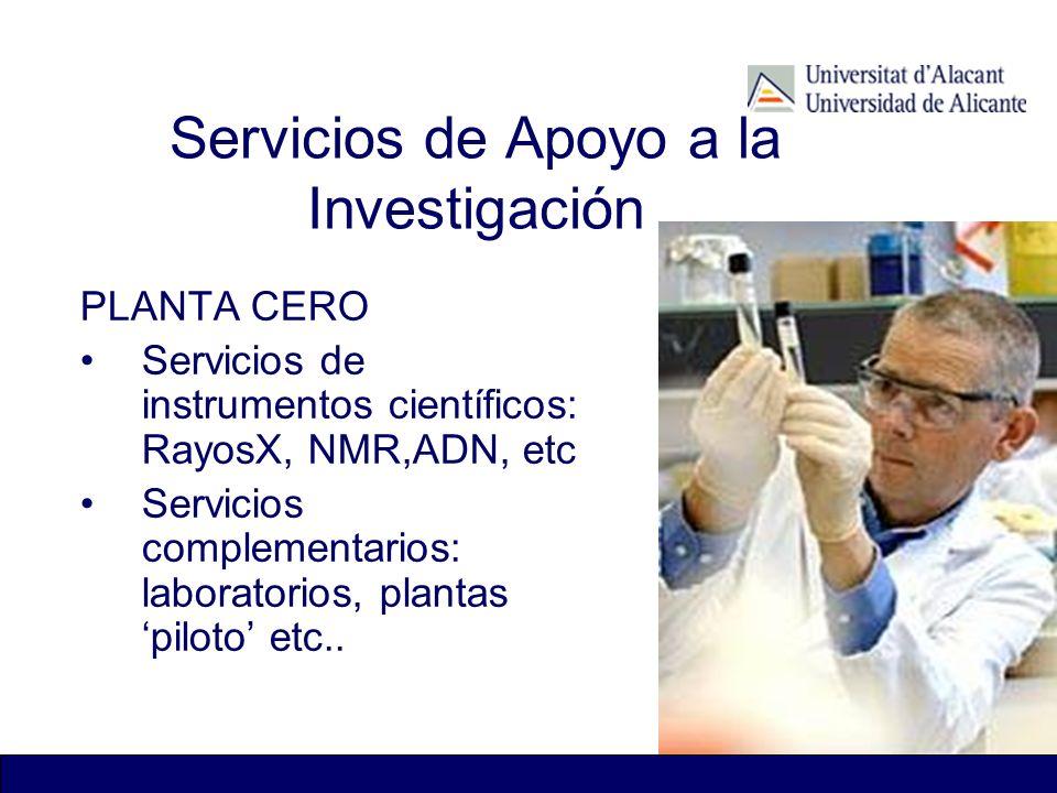 Servicios de Apoyo a la Investigación PLANTA CERO Servicios de instrumentos científicos: RayosX, NMR,ADN, etc Servicios complementarios: laboratorios,