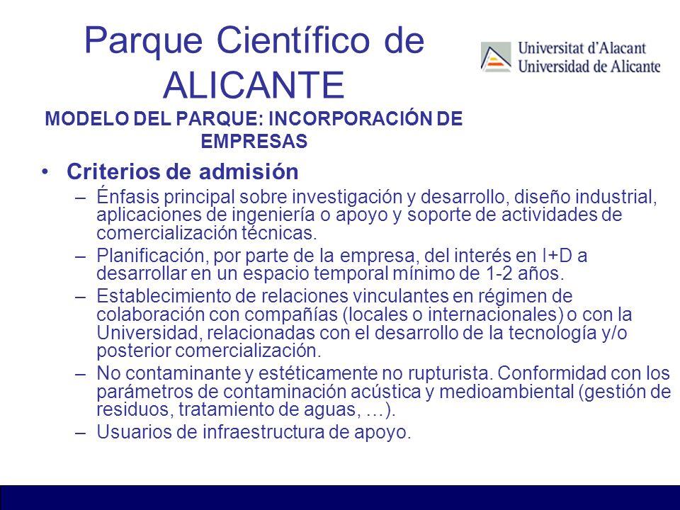 Criterios de admisión –Énfasis principal sobre investigación y desarrollo, diseño industrial, aplicaciones de ingeniería o apoyo y soporte de activida