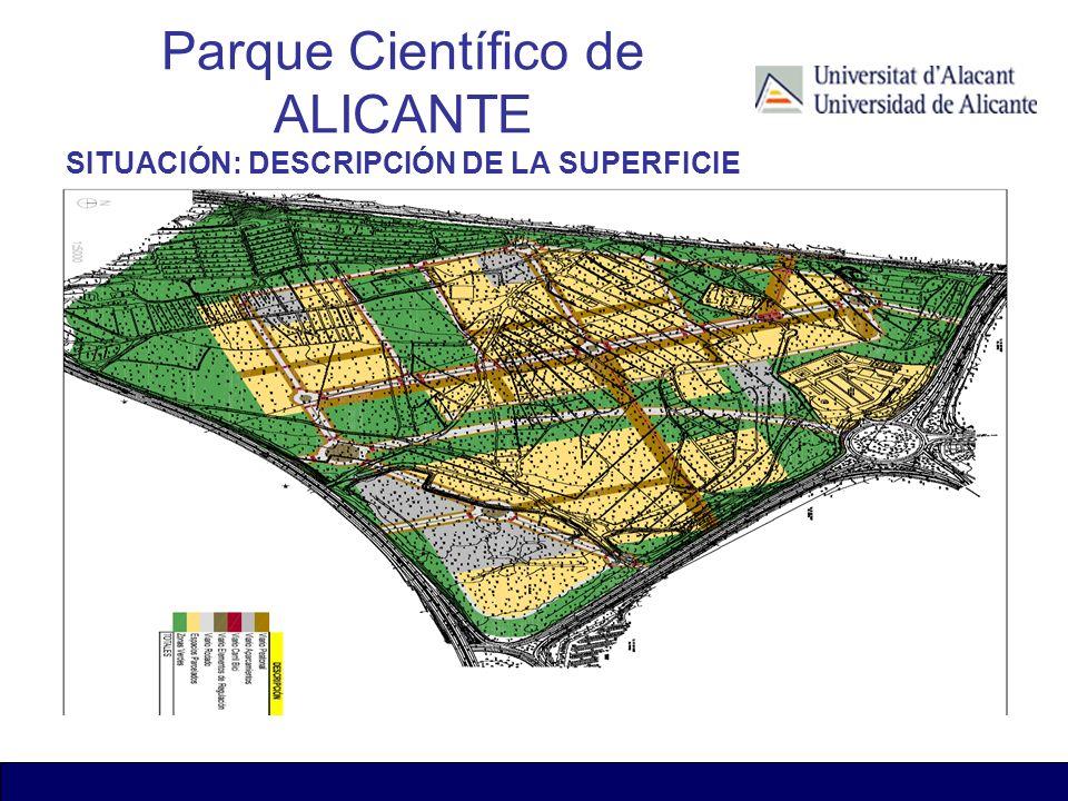 Parque Científico de ALICANTE SITUACIÓN: DESCRIPCIÓN DE LA SUPERFICIE