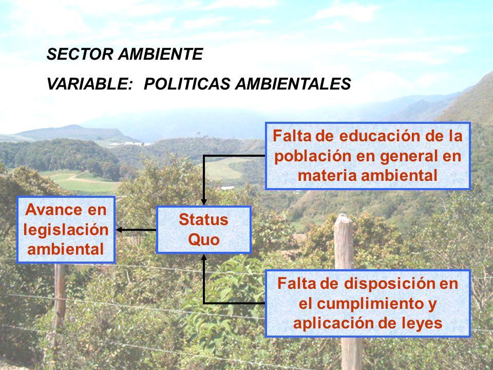 SECTOR AMBIENTE VARIABLE: POLITICAS AMBIENTALES Status Quo Avance en legislación ambiental Falta de educación de la población en general en materia am