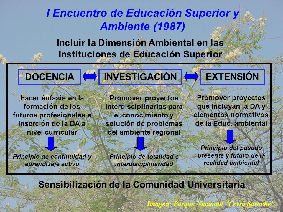 II Encuentro de Educación Superior y Ambiente (2000) Orientó sus objetivos a generar lineamientos para la elaboración y aplicación de un Plan Nacional de Educación Superior y Ambiente, para impulsar el desarrollo ambientalmente sostenible de nuestro país, con la participación activa de las universidades.