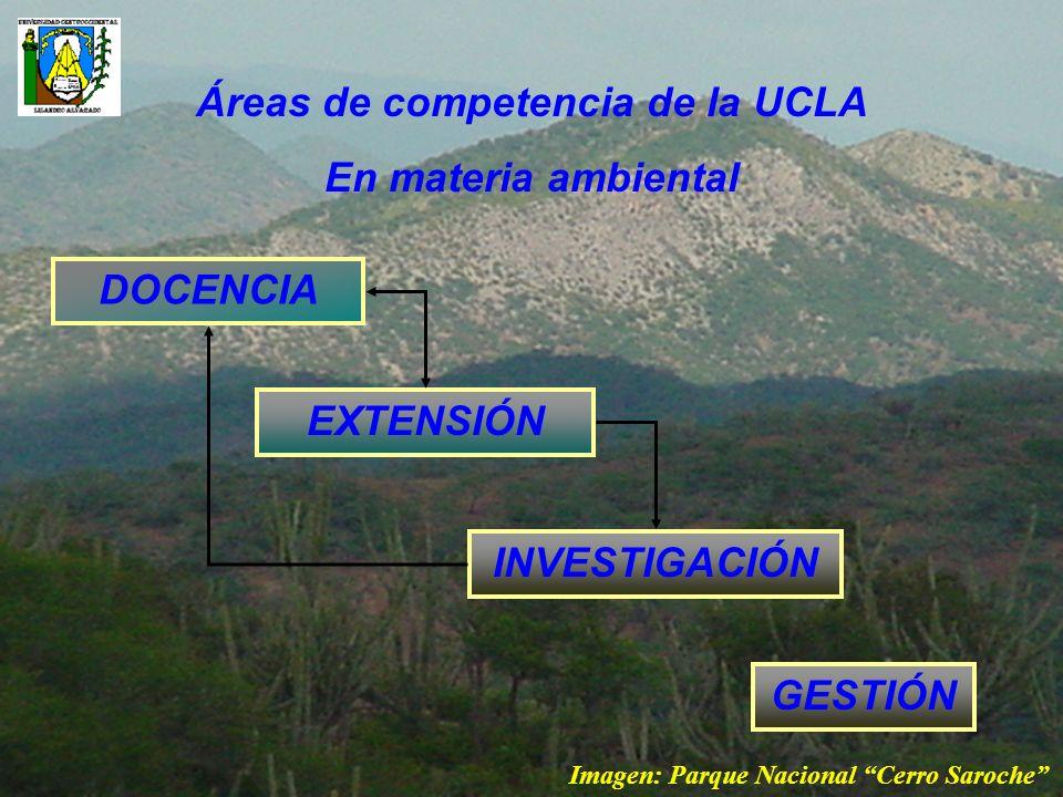 Áreas de competencia de la UCLA En materia ambiental DOCENCIA GESTIÓN EXTENSIÓN INVESTIGACIÓN Imagen: Parque Nacional Cerro Saroche