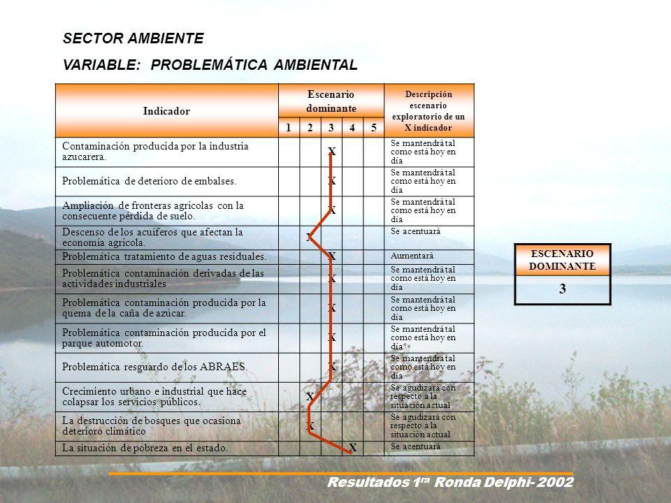 Resultados 1 ra Ronda Delphi- 2002 Indicador Escenario dominante Descripción escenario exploratorio de un X indicador 12345 Contaminación producida po