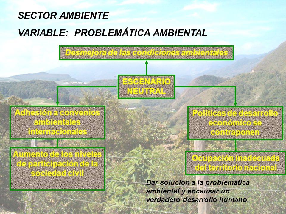 SECTOR AMBIENTE VARIABLE: PROBLEMÁTICA AMBIENTAL ESCENARIO NEUTRAL Dar solución a la problemática ambiental y encausar un verdadero desarrollo humano,