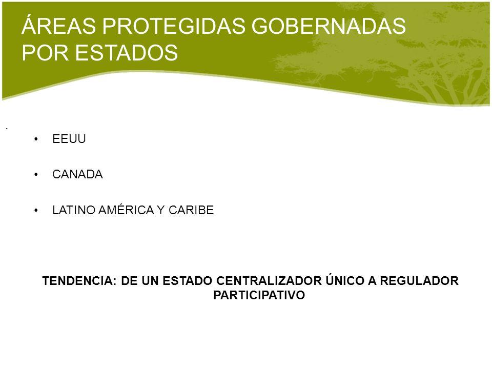 . ÁREAS PROTEGIDAS GOBERNADAS POR ESTADOS EEUU CANADA LATINO AMÉRICA Y CARIBE TENDENCIA: DE UN ESTADO CENTRALIZADOR ÚNICO A REGULADOR PARTICIPATIVO