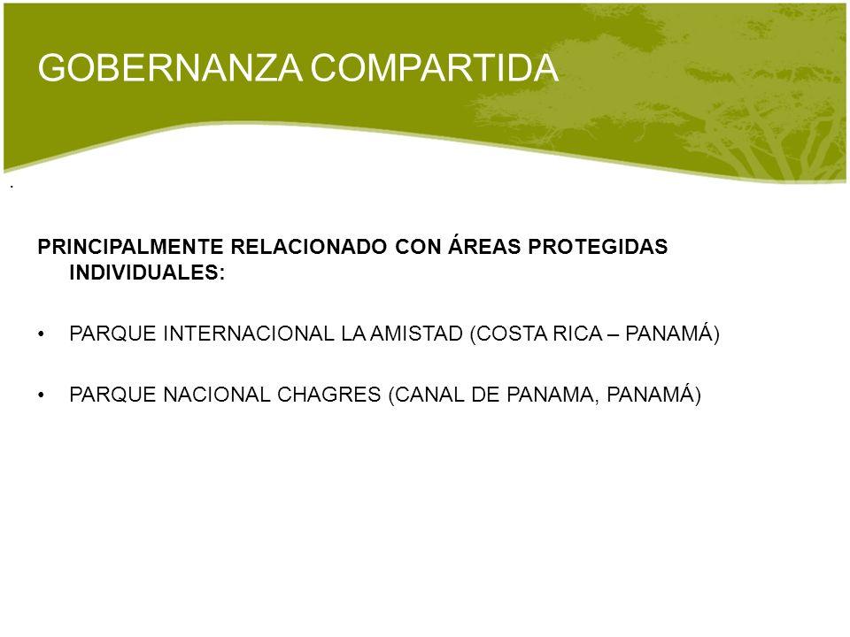. GOBERNANZA COMPARTIDA PRINCIPALMENTE RELACIONADO CON ÁREAS PROTEGIDAS INDIVIDUALES: PARQUE INTERNACIONAL LA AMISTAD (COSTA RICA – PANAMÁ) PARQUE NAC