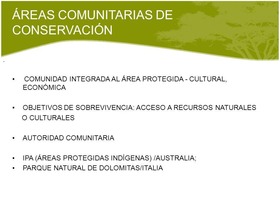. COMUNIDAD INTEGRADA AL ÁREA PROTEGIDA - CULTURAL, ECONÓMICA OBJETIVOS DE SOBREVIVENCIA: ACCESO A RECURSOS NATURALES O CULTURALES AUTORIDAD COMUNITAR