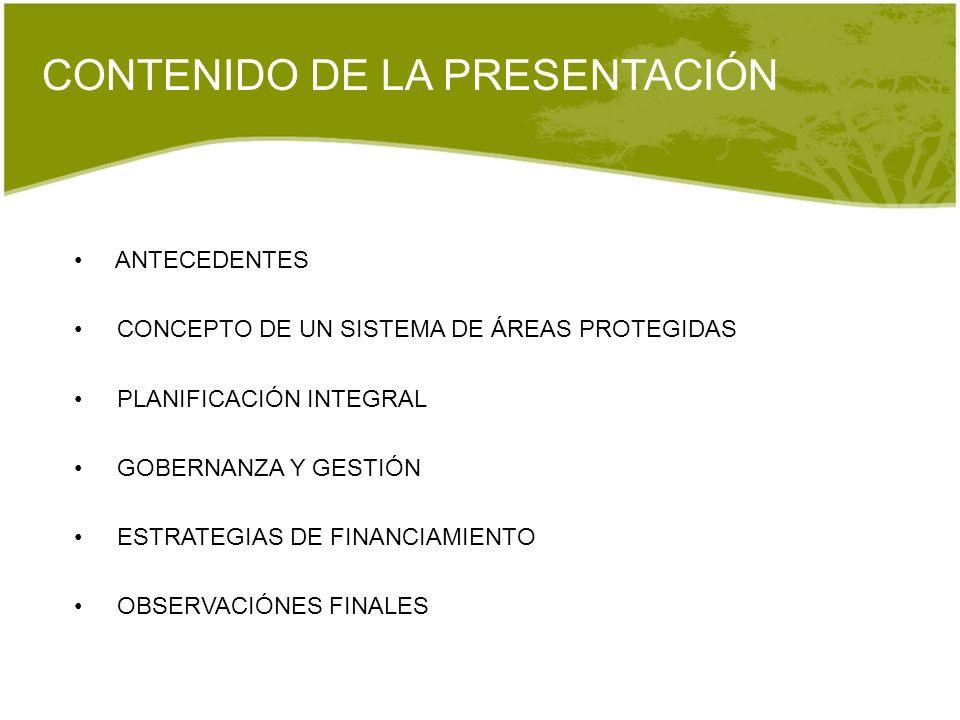 CONTENIDO DE LA PRESENTACIÓN ANTECEDENTES CONCEPTO DE UN SISTEMA DE ÁREAS PROTEGIDAS PLANIFICACIÓN INTEGRAL GOBERNANZA Y GESTIÓN ESTRATEGIAS DE FINANC