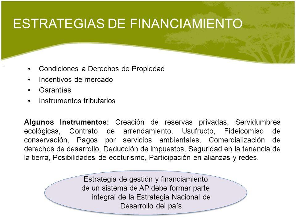 ESTRATEGIAS DE FINANCIAMIENTO. Estrategia de gestión y financiamiento de un sistema de AP debe formar parte integral de la Estrategia Nacional de Desa