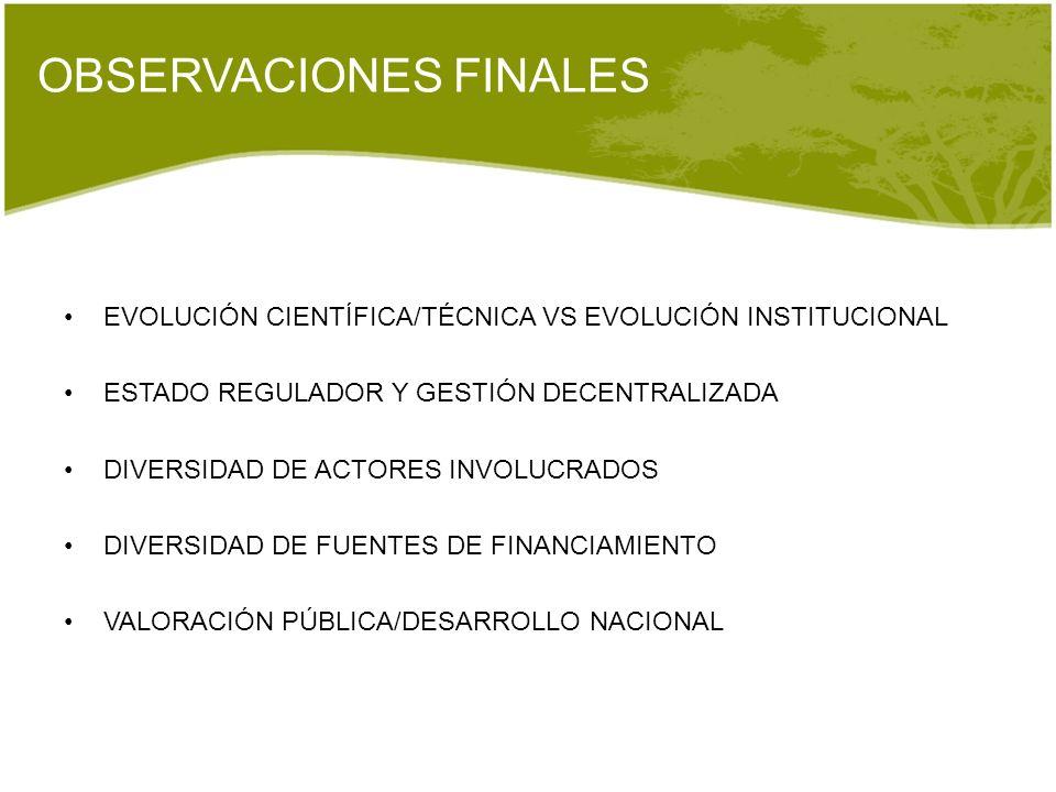 OBSERVACIONES FINALES EVOLUCIÓN CIENTÍFICA/TÉCNICA VS EVOLUCIÓN INSTITUCIONAL ESTADO REGULADOR Y GESTIÓN DECENTRALIZADA DIVERSIDAD DE ACTORES INVOLUCR