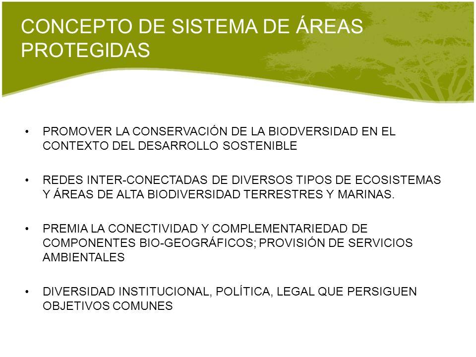 CONCEPTO DE SISTEMA DE ÁREAS PROTEGIDAS PROMOVER LA CONSERVACIÓN DE LA BIODVERSIDAD EN EL CONTEXTO DEL DESARROLLO SOSTENIBLE REDES INTER-CONECTADAS DE