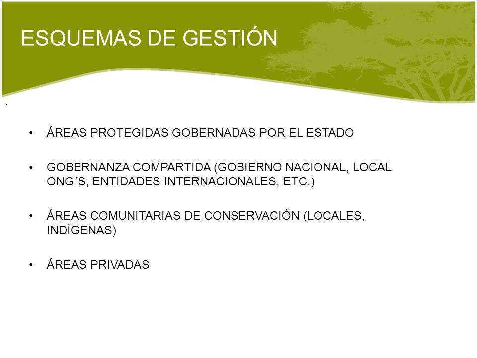 . ESQUEMAS DE GESTIÓN ÁREAS PROTEGIDAS GOBERNADAS POR EL ESTADO GOBERNANZA COMPARTIDA (GOBIERNO NACIONAL, LOCAL ONG´S, ENTIDADES INTERNACIONALES, ETC.