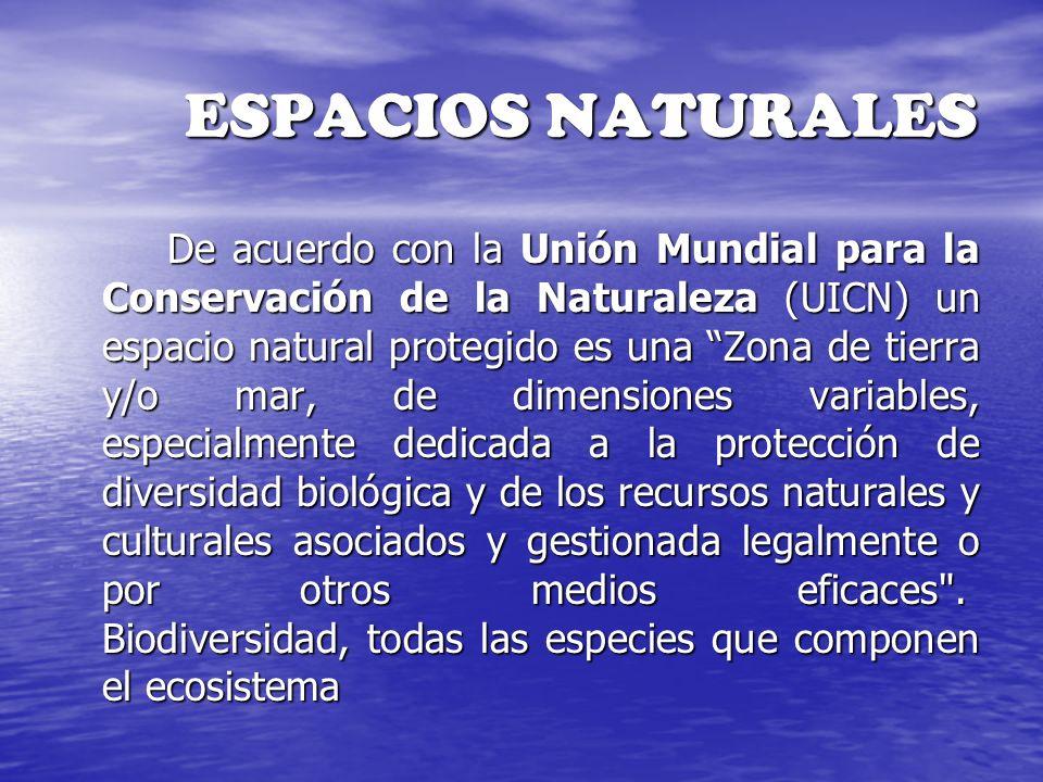 ESPACIOS NATURALES De acuerdo con la Unión Mundial para la Conservación de la Naturaleza (UICN) un espacio natural protegido es una Zona de tierra y/o