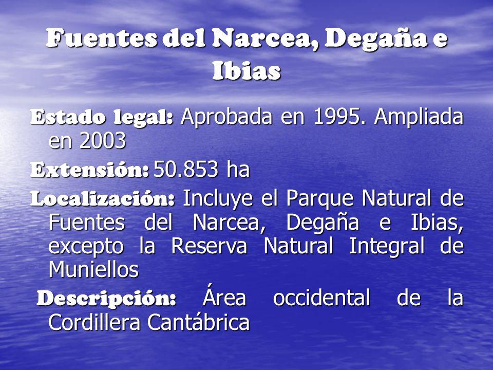 Fuentes del Narcea, Degaña e Ibias Estado legal: Aprobada en 1995. Ampliada en 2003 Extensión: 50.853 ha Localización: Incluye el Parque Natural de Fu