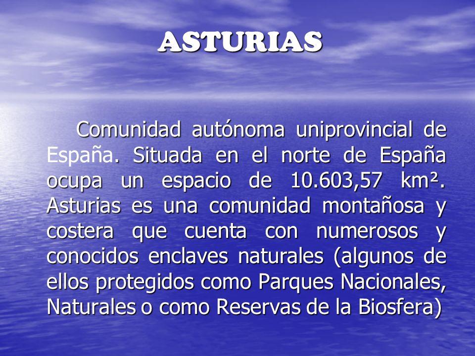 ASTURIAS Comunidad autónoma uniprovincial de. Situada en el norte de España ocupa un espacio de 10.603,57 km². Asturias es una comunidad montañosa y c