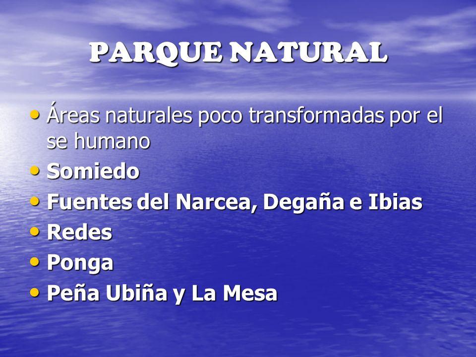 PARQUE NATURAL Áreas naturales poco transformadas por el se humano Áreas naturales poco transformadas por el se humano Somiedo Somiedo Fuentes del Nar