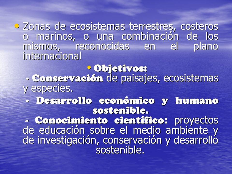 Zonas de ecosistemas terrestres, costeros o marinos, o una combinación de los mismos, reconocidas en el plano internacional Zonas de ecosistemas terre