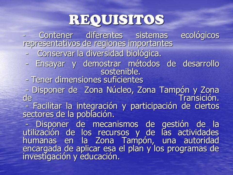 REQUISITOS - Contener diferentes sistemas ecológicos representativos de regiones importantes - Conservar la diversidad biológica. - Conservar la diver
