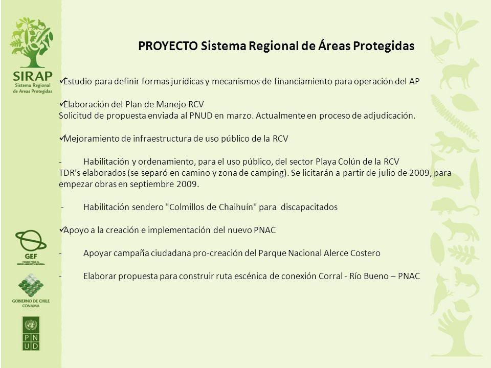 PROYECTO Sistema Regional de Áreas Protegidas Estudio para definir formas jurídicas y mecanismos de financiamiento para operación del AP Elaboración d