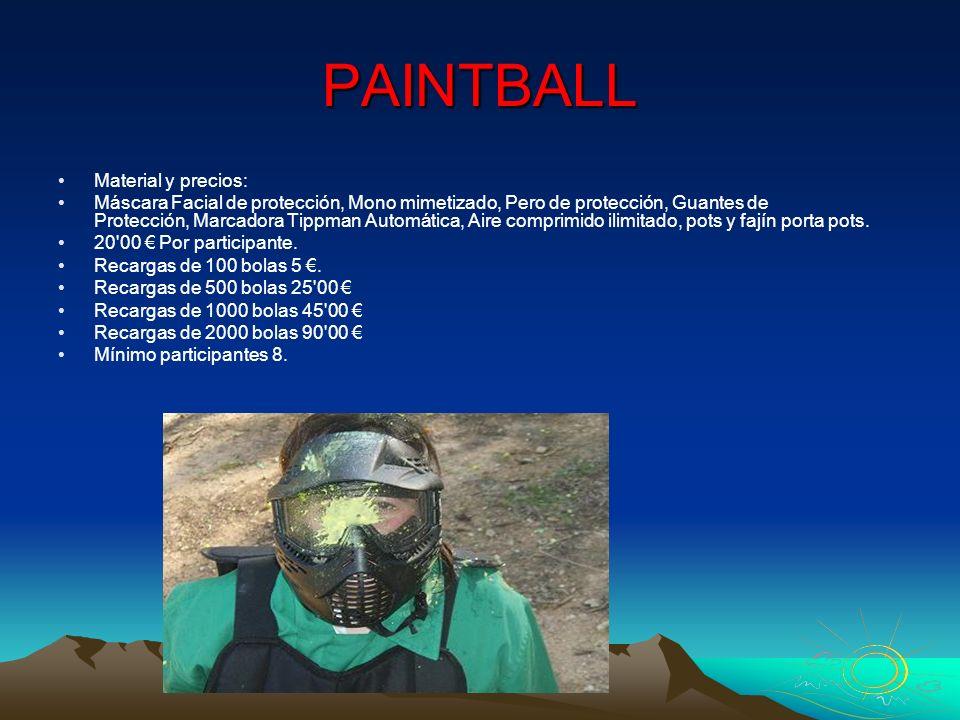 PAINTBALL Material y precios: Máscara Facial de protección, Mono mimetizado, Pero de protección, Guantes de Protección, Marcadora Tippman Automática,