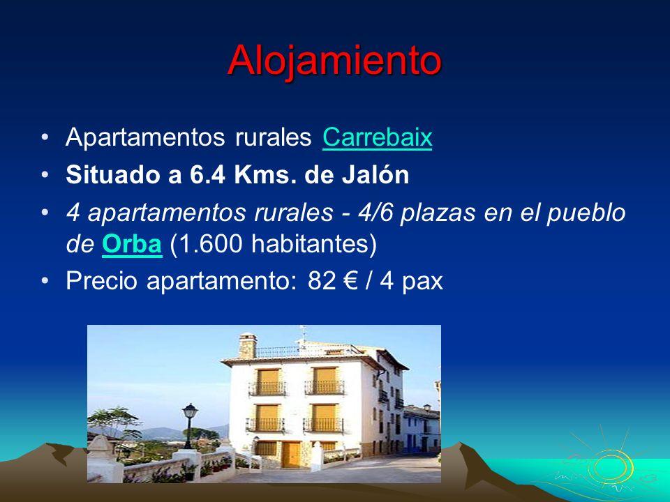 Alojamiento Apartamentos rurales CarrebaixCarrebaix Situado a 6.4 Kms. de Jalón 4 apartamentos rurales - 4/6 plazas en el pueblo de Orba (1.600 habita
