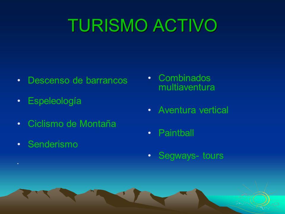 TURISMO ACTIVO Descenso de barrancos Espeleología Ciclismo de Montaña Senderismo Combinados multiaventura Aventura vertical Paintball Segways- tours