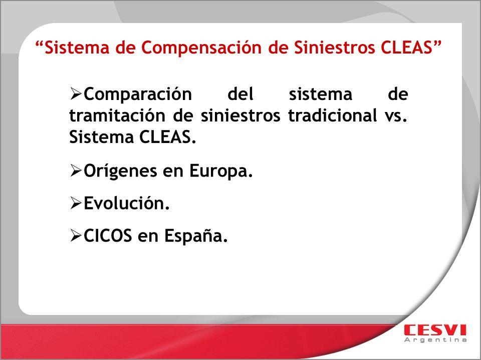 Sistema de Compensación de Siniestros CLEAS Comparación del sistema de tramitación de siniestros tradicional vs. Sistema CLEAS. Orígenes en Europa. Ev