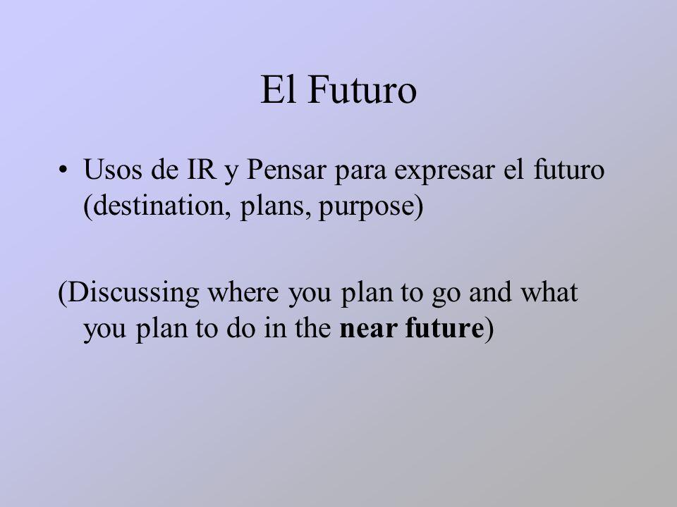 Los Verbos: IR – to goPensar – to intend/plan VoyVamospiensopensamos Vaspiensas VaVanpiensa piensan *Para expresar destinación: Ir + a + placePensar + Ir + a + place