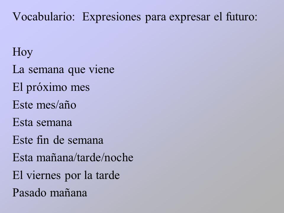 Vocabulario: Expresiones para expresar el futuro: Hoy La semana que viene El próximo mes Este mes/año Esta semana Este fin de semana Esta mañana/tarde