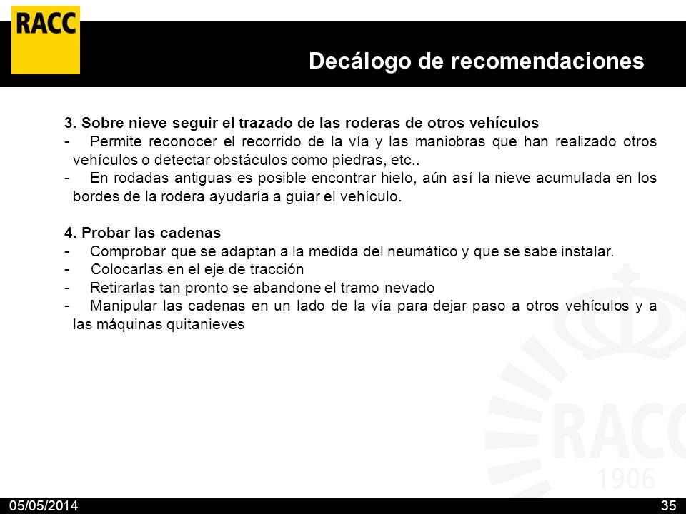 05/05/201435 Decálogo de recomendaciones El Club propone 10 medidas para prevenir los accidentes en las carreteras con nieve o hielo El RACC aconseja