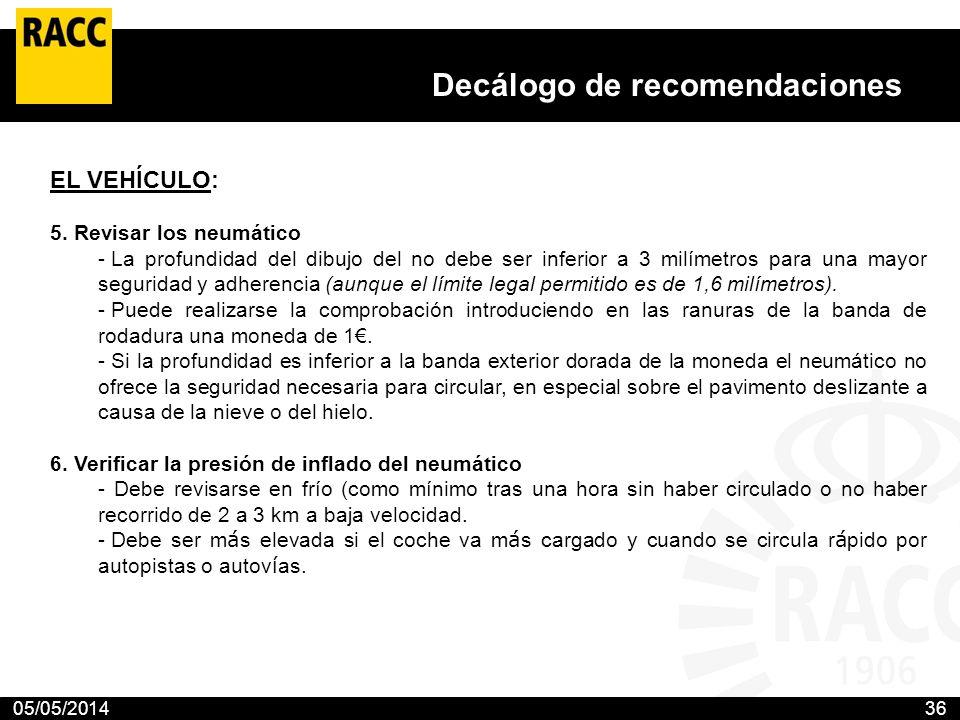 05/05/201436 Decálogo de recomendaciones El Club propone 10 medidas para prevenir los accidentes en las carreteras con nieve o hielo El RACC aconseja