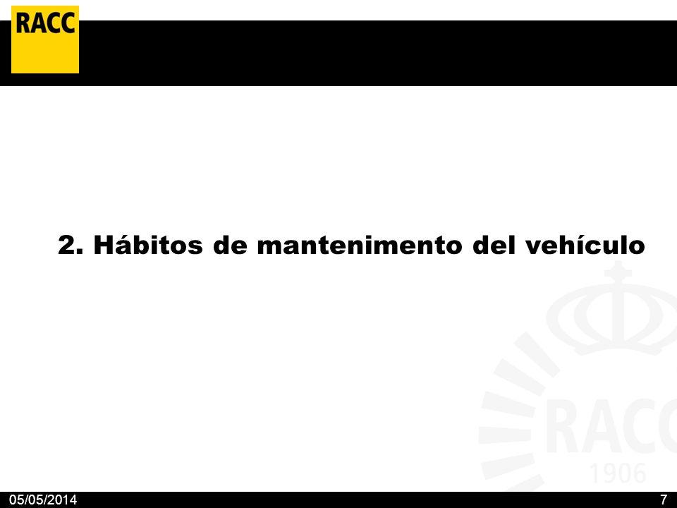 05/05/20147 2. Hábitos de mantenimento del vehículo