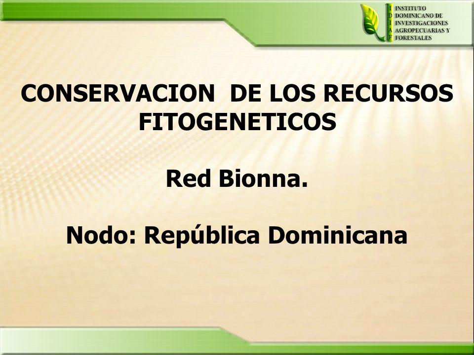 CONSERVACION DE LOS RECURSOS FITOGENETICOS Red Bionna. Nodo: República Dominicana