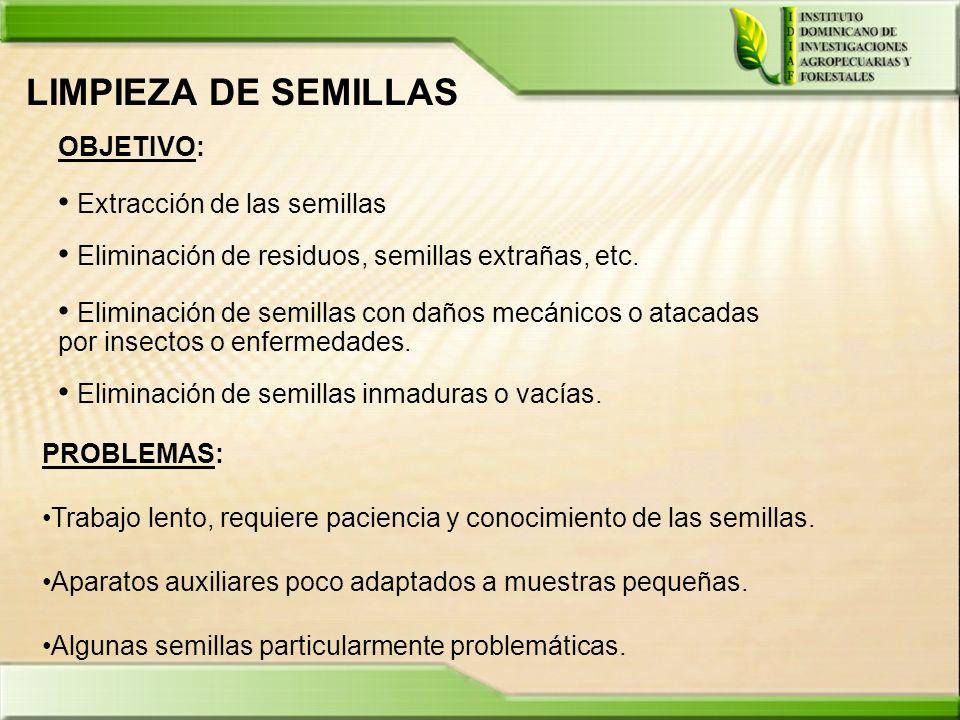 LIMPIEZA DE SEMILLAS OBJETIVO: Extracción de las semillas Eliminación de residuos, semillas extrañas, etc. Eliminación de semillas con daños mecánicos