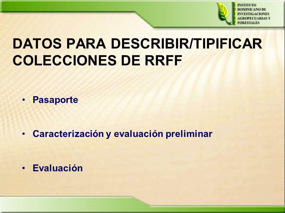 DATOS PARA DESCRIBIR/TIPIFICAR COLECCIONES DE RRFF Pasaporte Caracterización y evaluación preliminar Evaluación