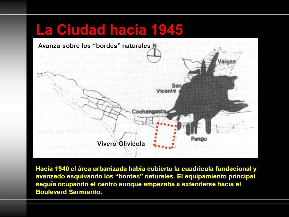 La Ciudad hacia 1945 Avanza sobre los bordes naturales Hacia 1940 el área urbanizada había cubierto la cuadricula fundacional y avanzado esquivando lo