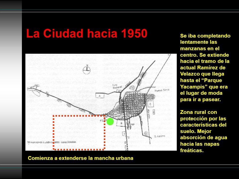 La Ciudad hacia 1950 Comienza a extenderse la mancha urbana Se iba completando lentamente las manzanas en el centro. Se extiende hacia el tramo de la