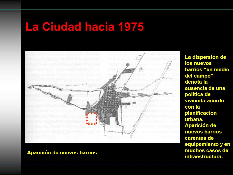 La Ciudad hacia 1975 Aparición de nuevos barrios La dispersión de los nuevos barrios en medio del campo denota la ausencia de una política de vivienda