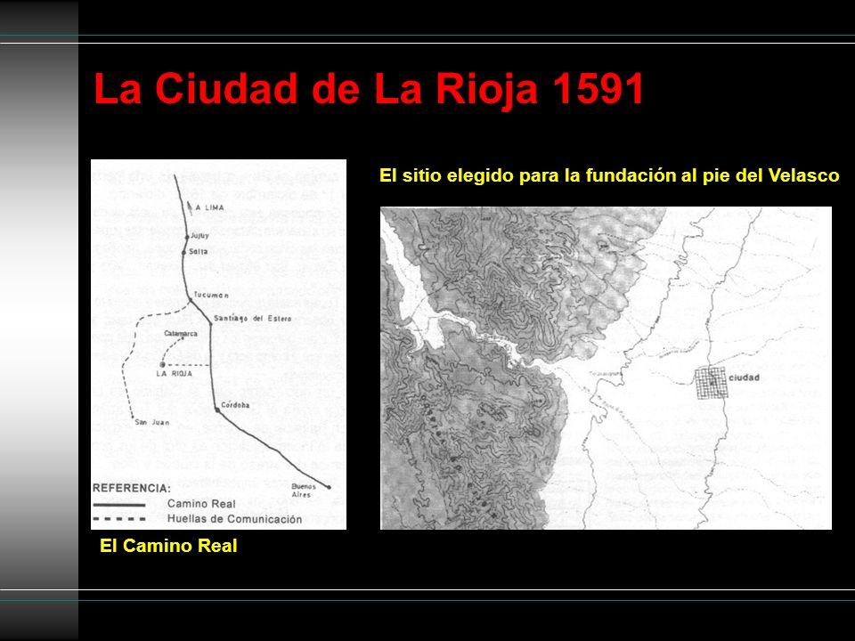 La Ciudad de La Rioja 1591 El sitio elegido para la fundación al pie del Velasco El Camino Real