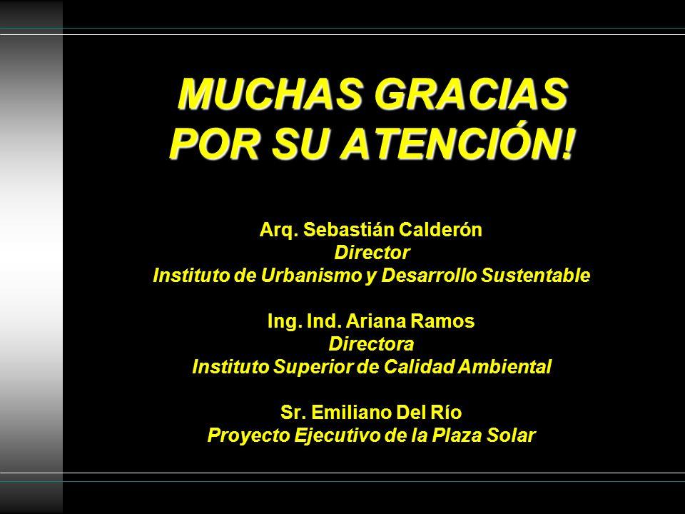 MUCHAS GRACIAS POR SU ATENCIÓN! MUCHAS GRACIAS POR SU ATENCIÓN! Arq. Sebastián Calderón Director Instituto de Urbanismo y Desarrollo Sustentable Ing.