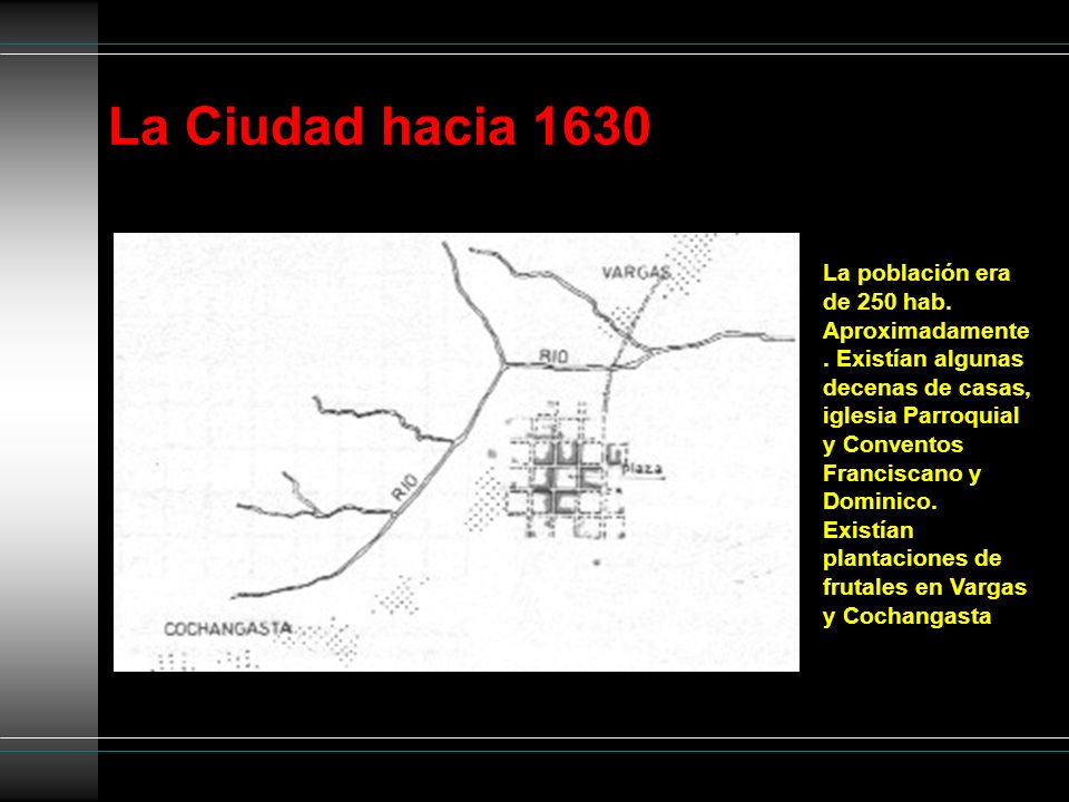 La Ciudad hacia 1630 La población era de 250 hab. Aproximadamente. Existían algunas decenas de casas, iglesia Parroquial y Conventos Franciscano y Dom