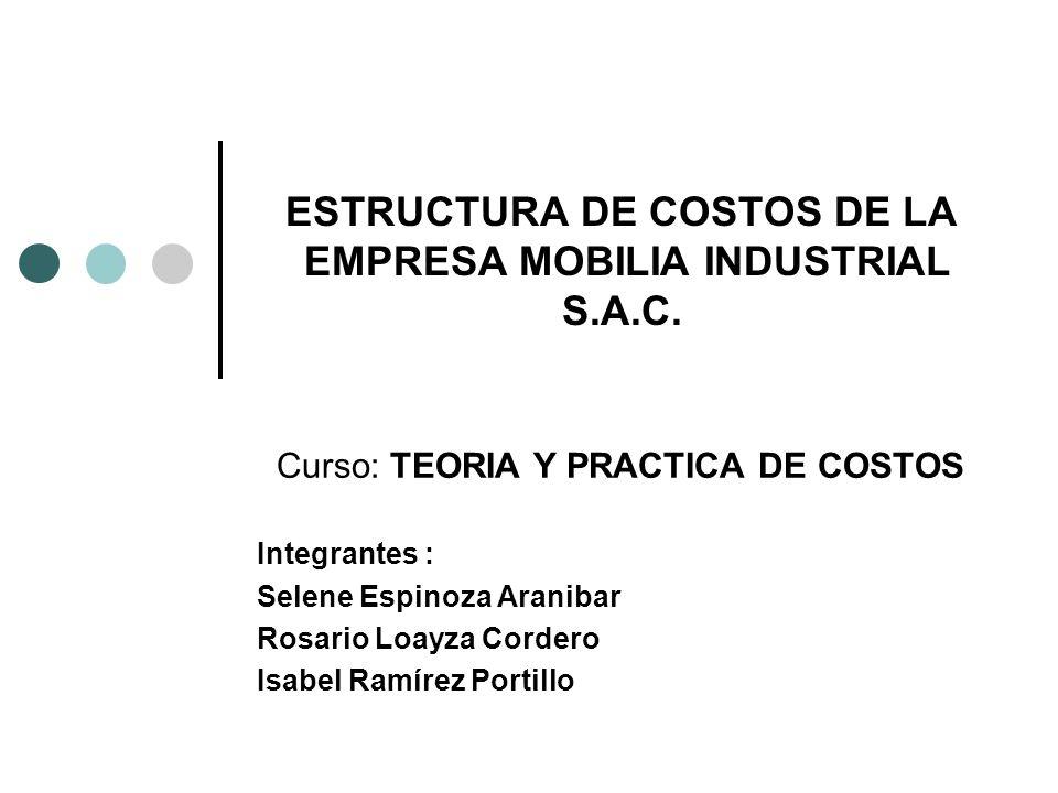 ESTRUCTURA DE COSTOS DE LA EMPRESA MOBILIA INDUSTRIAL S.A.C. Curso: TEORIA Y PRACTICA DE COSTOS Integrantes : Selene Espinoza Aranibar Rosario Loayza
