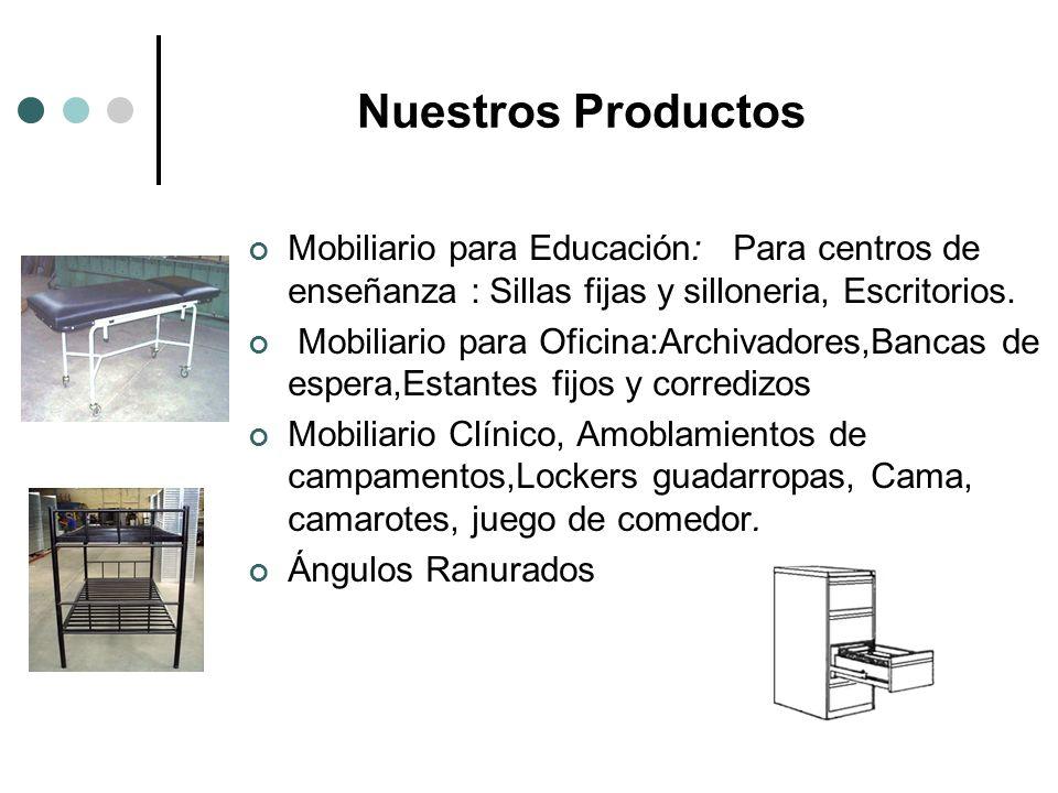 Nuestros Productos Mobiliario para Educación: Para centros de enseñanza : Sillas fijas y silloneria, Escritorios. Mobiliario para Oficina:Archivadores